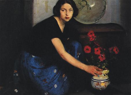 Bianca con vaso di fiori olio su tavola 1925