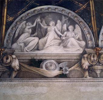 Fig. 5 Camera di San Paolo, partciolare del fregio con figure monocrome, le Tra Parche