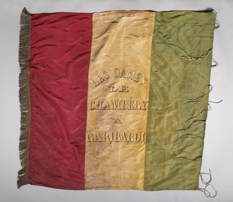 Bandiera della Legione Tanara offerta dalle donne di Chambery a Garibaldi dopo la prima battaglia di Dijon (1870) e da questi donata a Tanara.